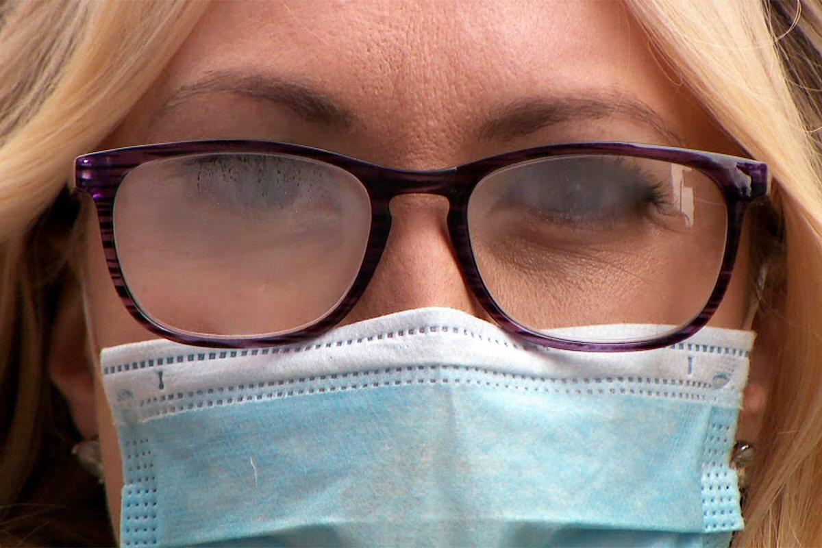 foggy glasses, mask
