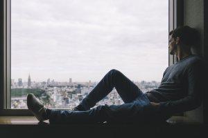 man, alone, window, isolation
