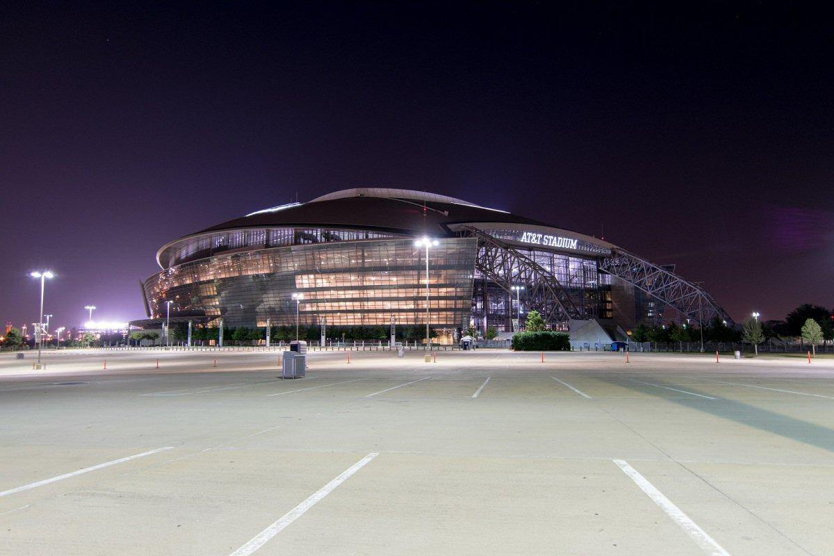 football stadium and parking lot