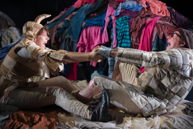 Hannah McPake as Trinculo and Tony Bell as Stephano in the Tempest