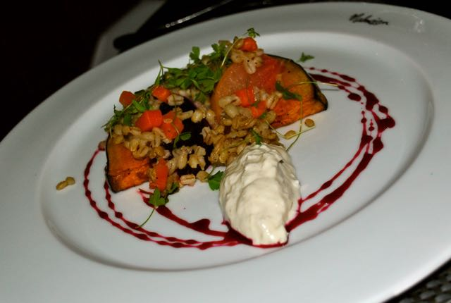 Autumn Salad: Roasted Crown Prince beets, pearl barley, balsamic and horseradish crème fraîche