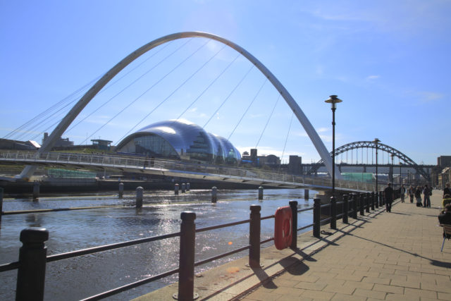 View from the Quayside towards the Gateshead Millennium Bridge, The Sage Gateshead and The Tyne Bridge.