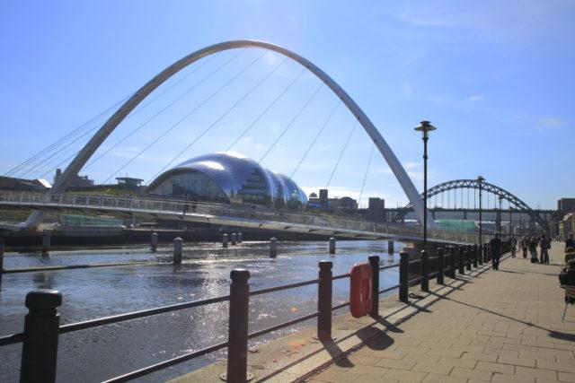 View from the Quayside towards the Gateshead Millennium Bridge, The Sage Gateshead and The Tyne Bridge.