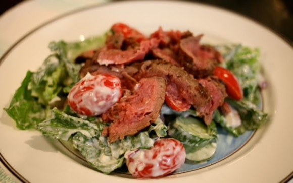 steak salad with blue cheese horseradish dressing