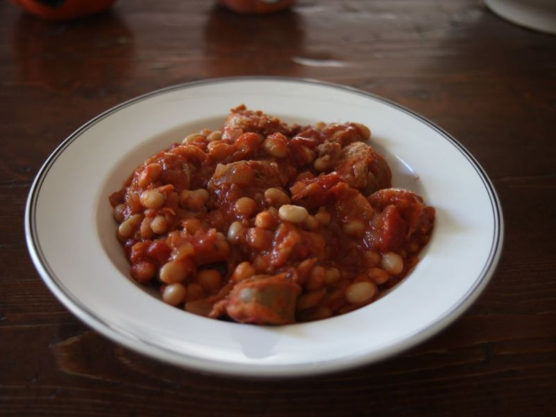 white bean sausage stew