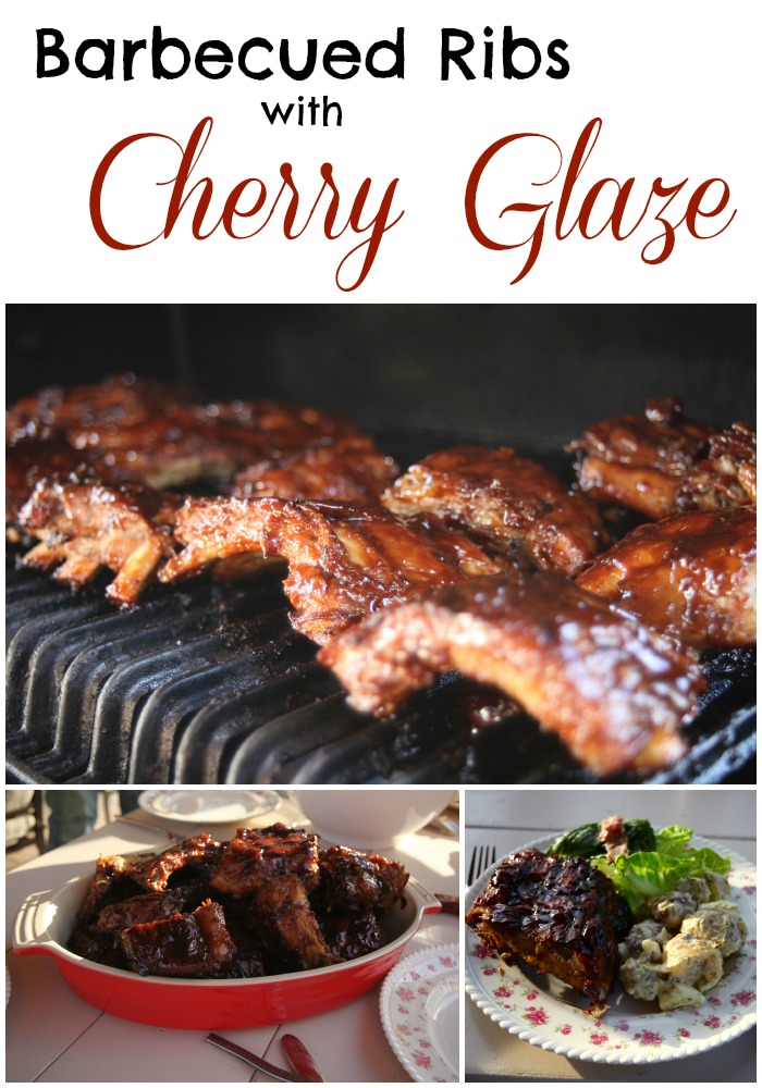 barbecued ribs with cherry glaze