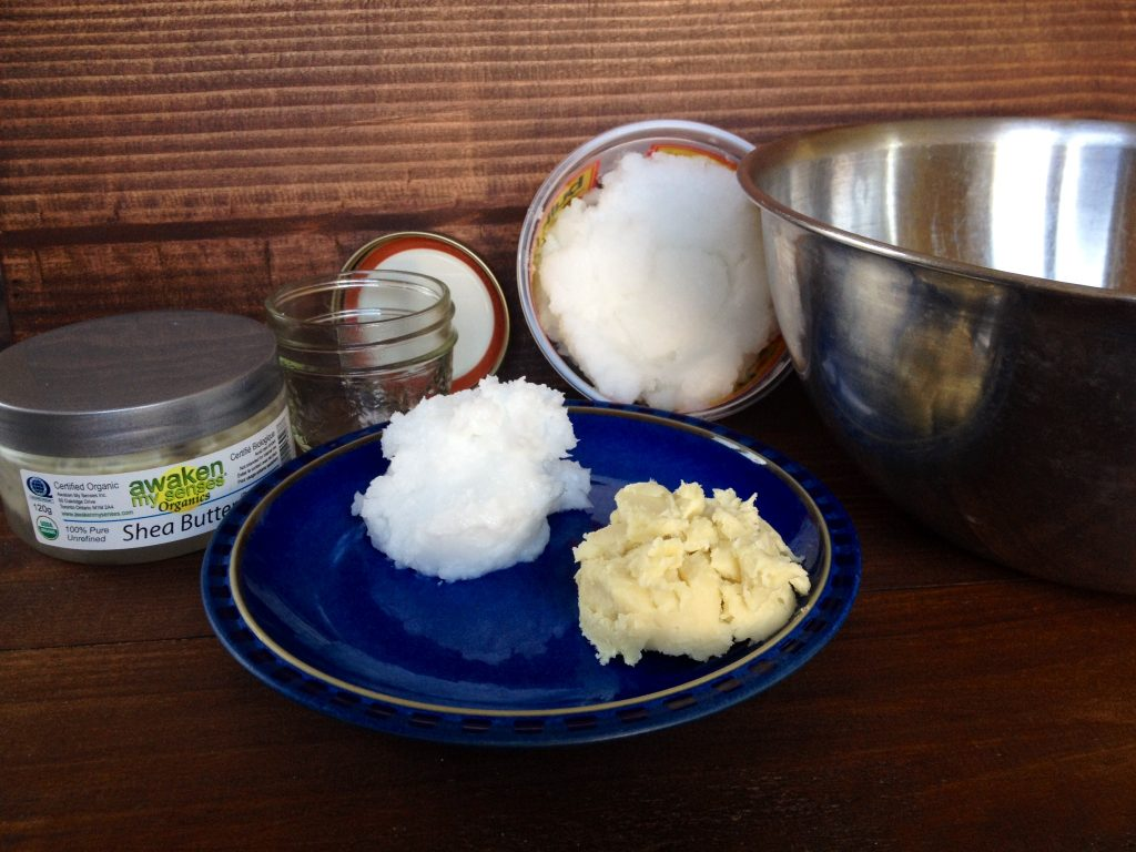 Ingredients for coconut oil and shea butter moisturizer