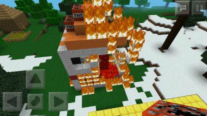 Minecraft burning building