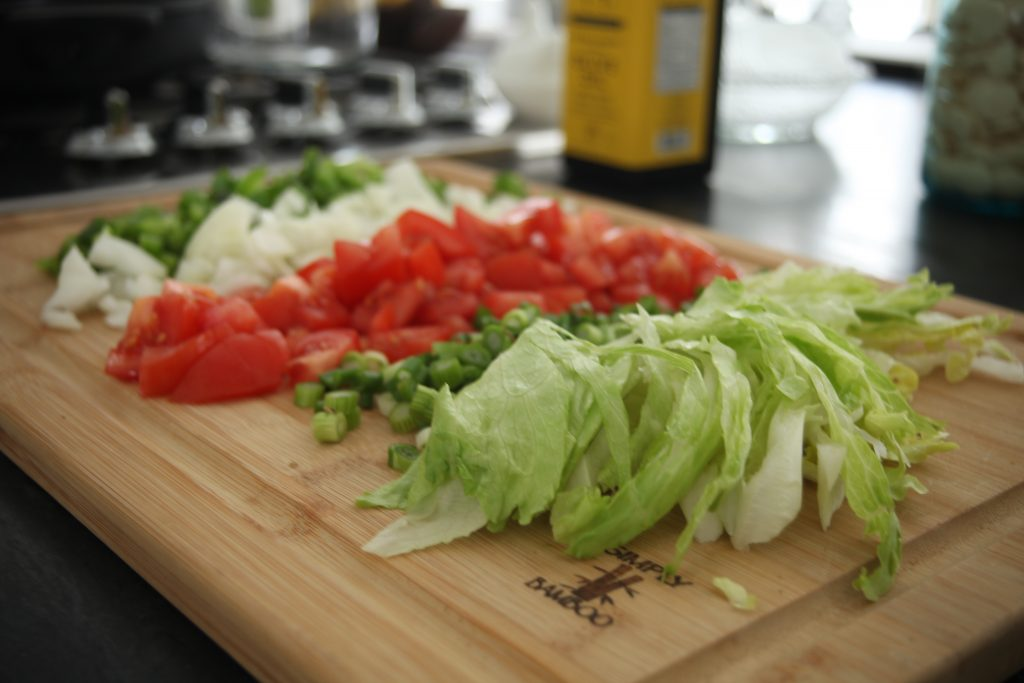 Classic Weeknight Tacos, tomatoes, onions, green peppers, lettuce