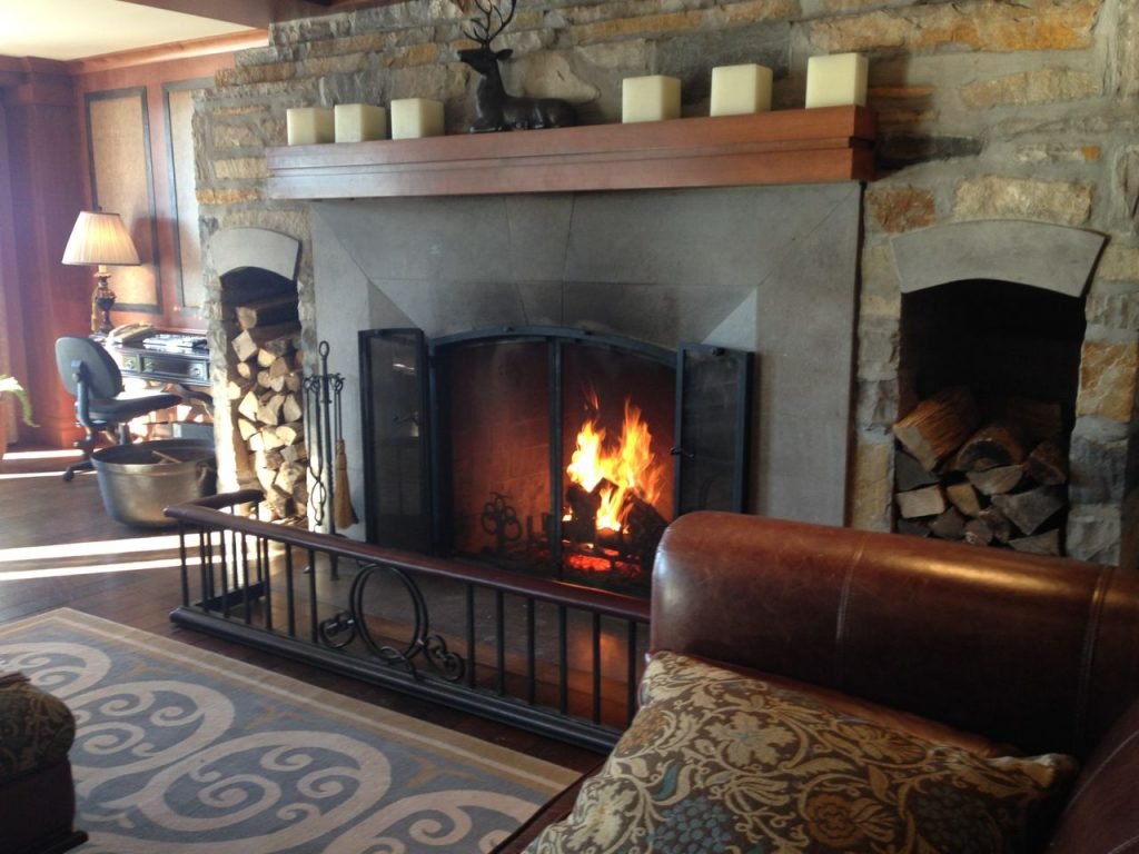 Time is a luxury, fireplace in lobby of Quintessence, Mont Tremblant
