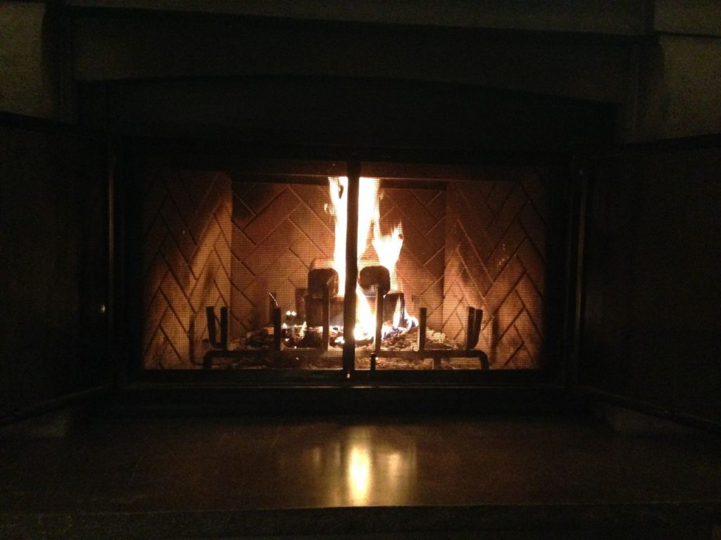 Time is a luxury, fire in room, Hotel Quintessence, Mont Tremblant, winter travel