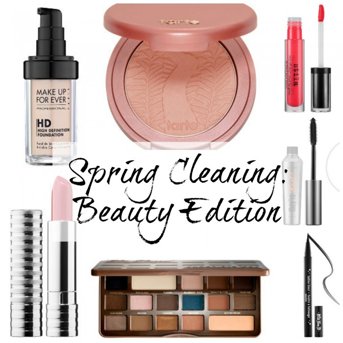 Spring Cleaning Beauty Edition, lipstick, mascara, eyeshadow, foundation