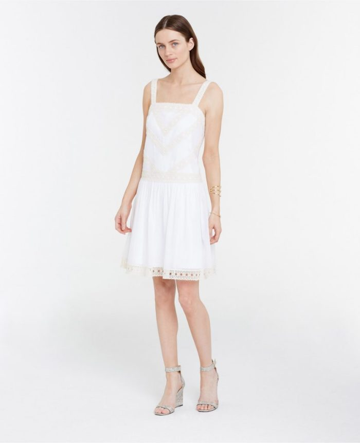 what to wear to a white party, white-party-ann-taylor-embroidered-drop-waist-dress