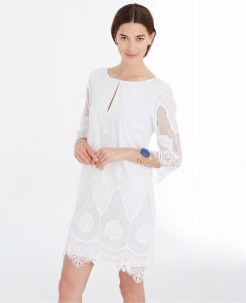 What to Wear to A White Party, white-party-ann-taylor-embroidered-tunic-dress