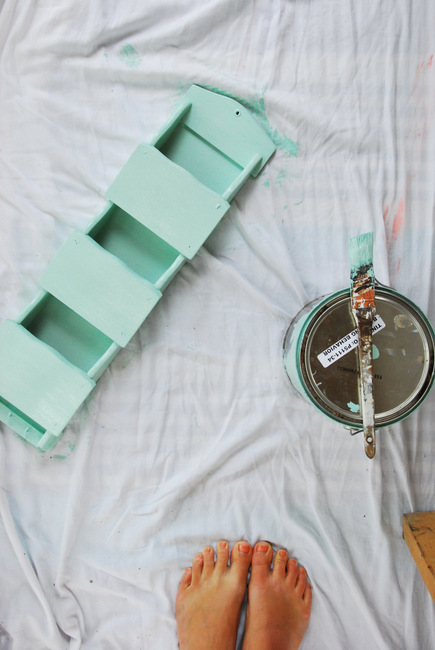 thrift store DIY - mint green mail holder