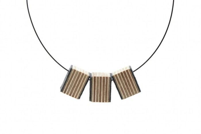 Triple Pendant Black Cord necklace