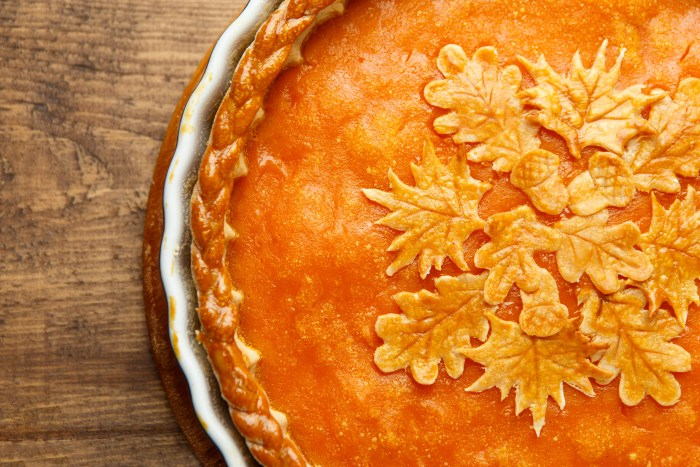 pie pumpkin fancy (Traditional american fresh round bright orange homemade pumpkin pie in baking dish on wooden table)