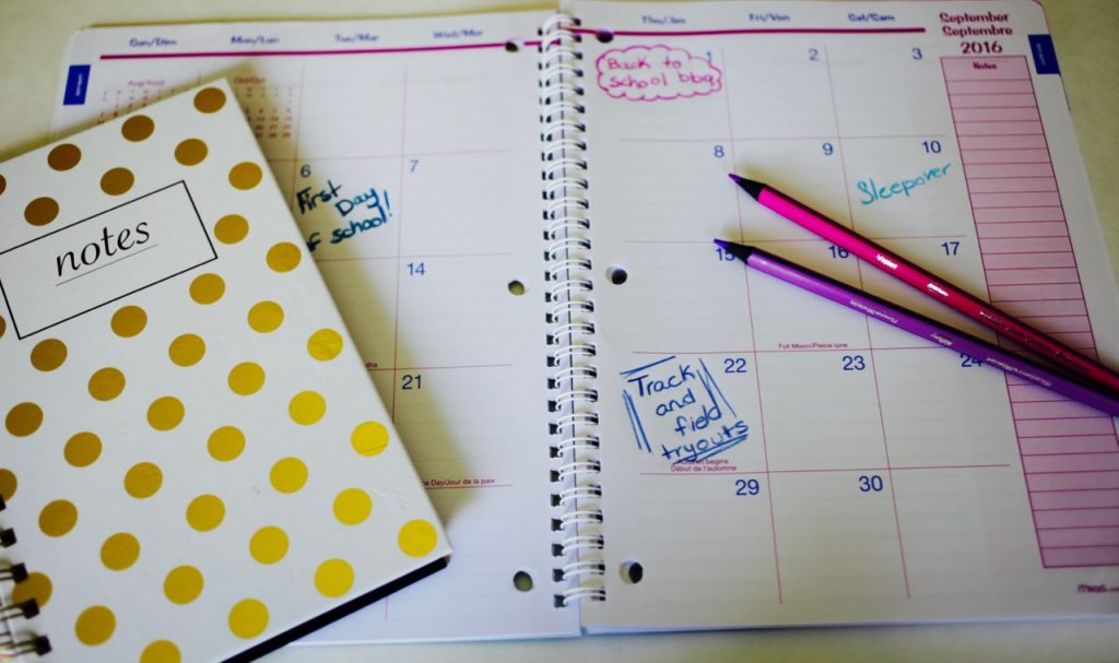 preparing teens for back to school, get organized, daytimer