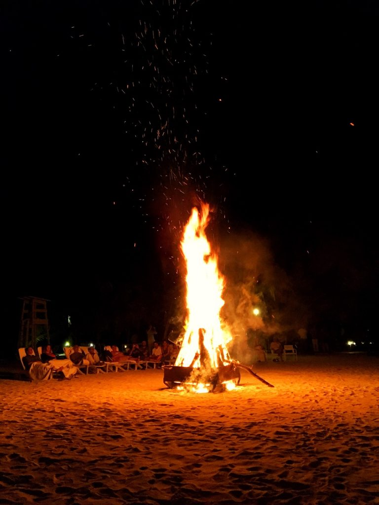 Couples Swept Away Negril, bonfire on the beach, evening activities