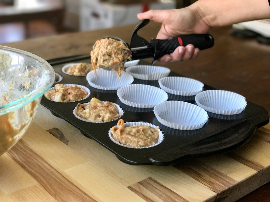 use an ice cream scoop for morning glory muffins