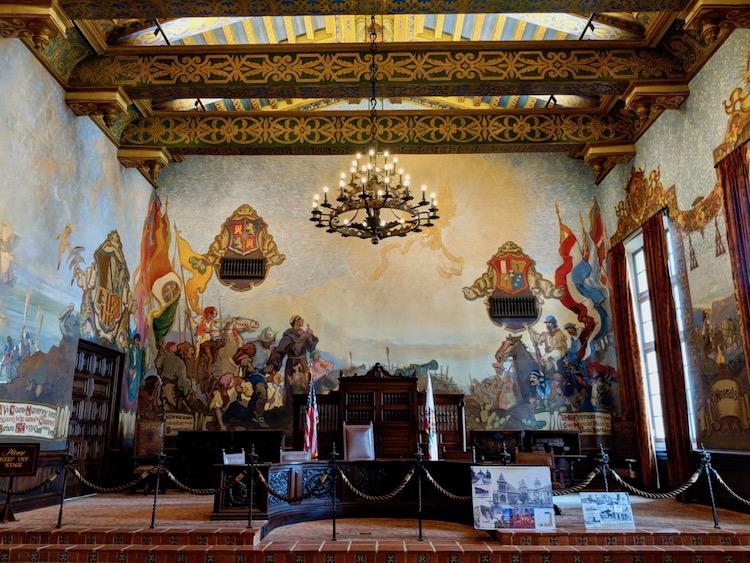 one day in Santa Barbara, santa barbara courthouse, mural room, old courtroom