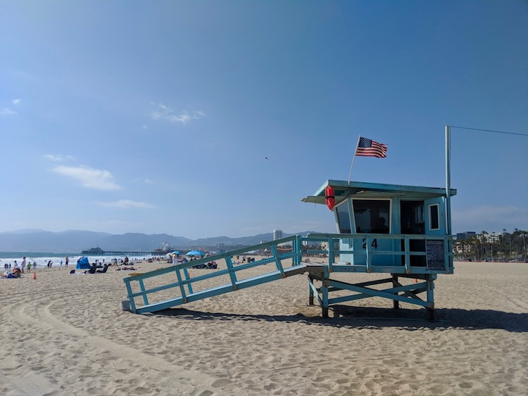 red eye out of lax, spend the day at Santa Monica Beach