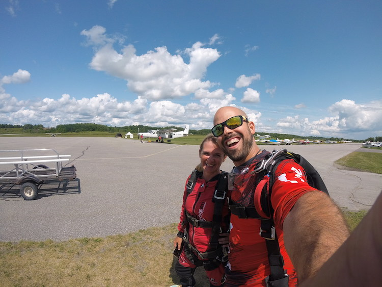 skydiving in Ottawa, ready to get on the plane in Gatineau