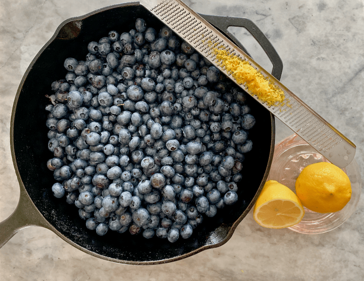 ingredients needed for blueberry grunt, fresh nova scotia blueberries, cast iron skillet recipes