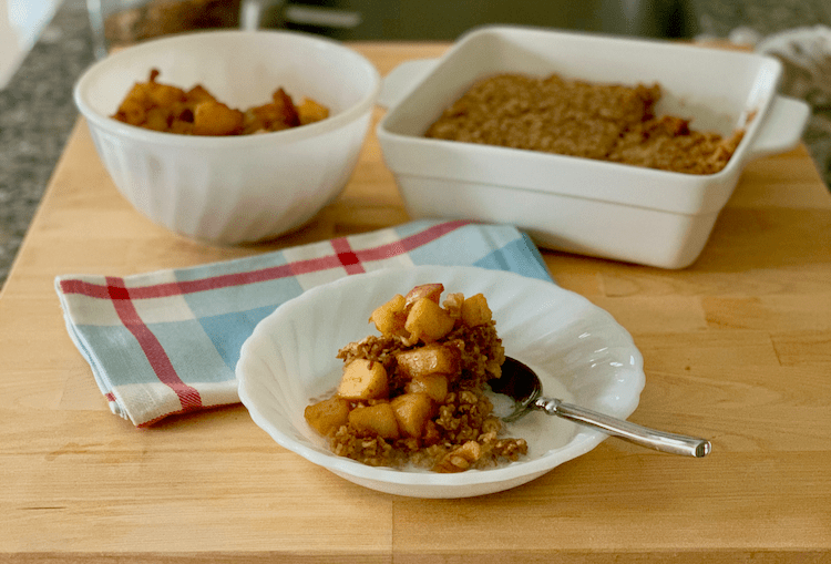 Comfort food before heading out the door. Baked Oatmeal with Maple Sauteed Apples
