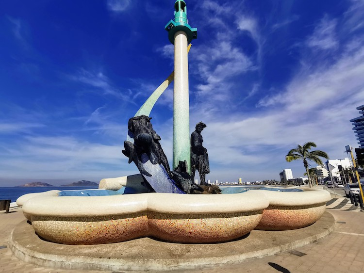 fountain along the malecon in Mazatlan