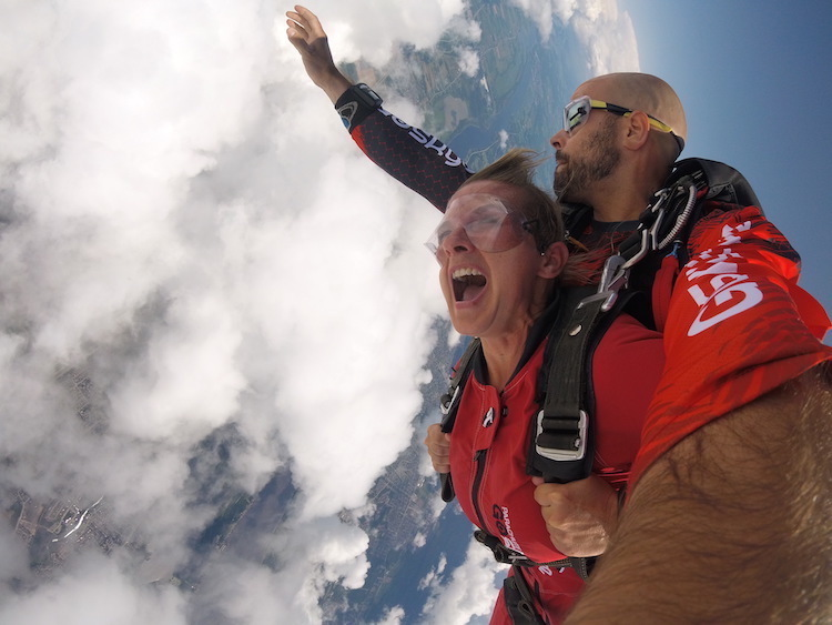 jumping out of a plane can cause happiness