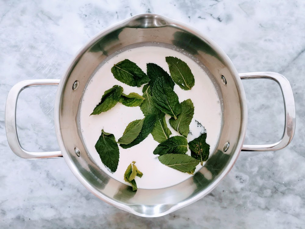 mint infusing cream for mint chocolate chip ice cream