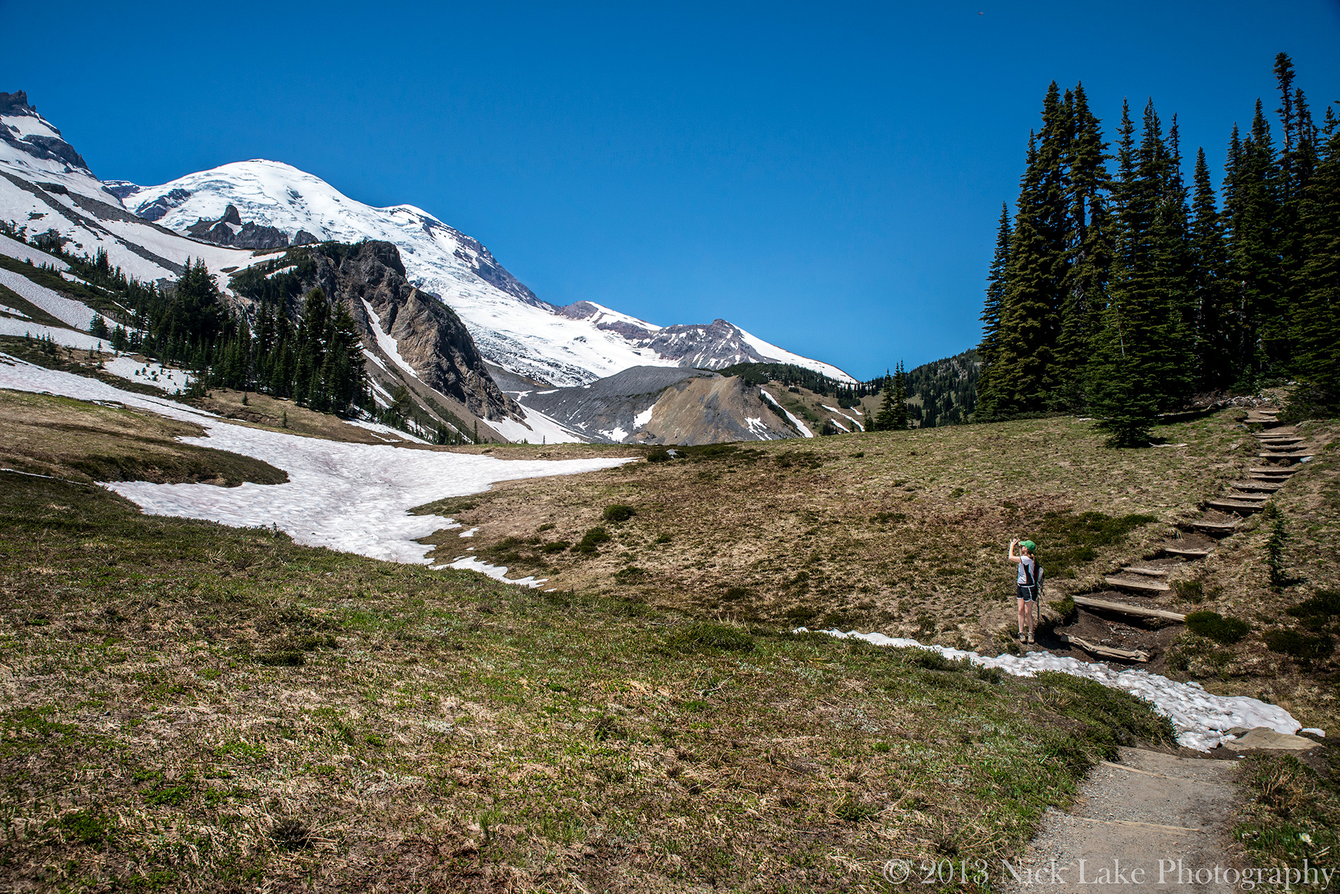 The expansive Summer Land meadow stretches up towards Mt. Rainier's peak
