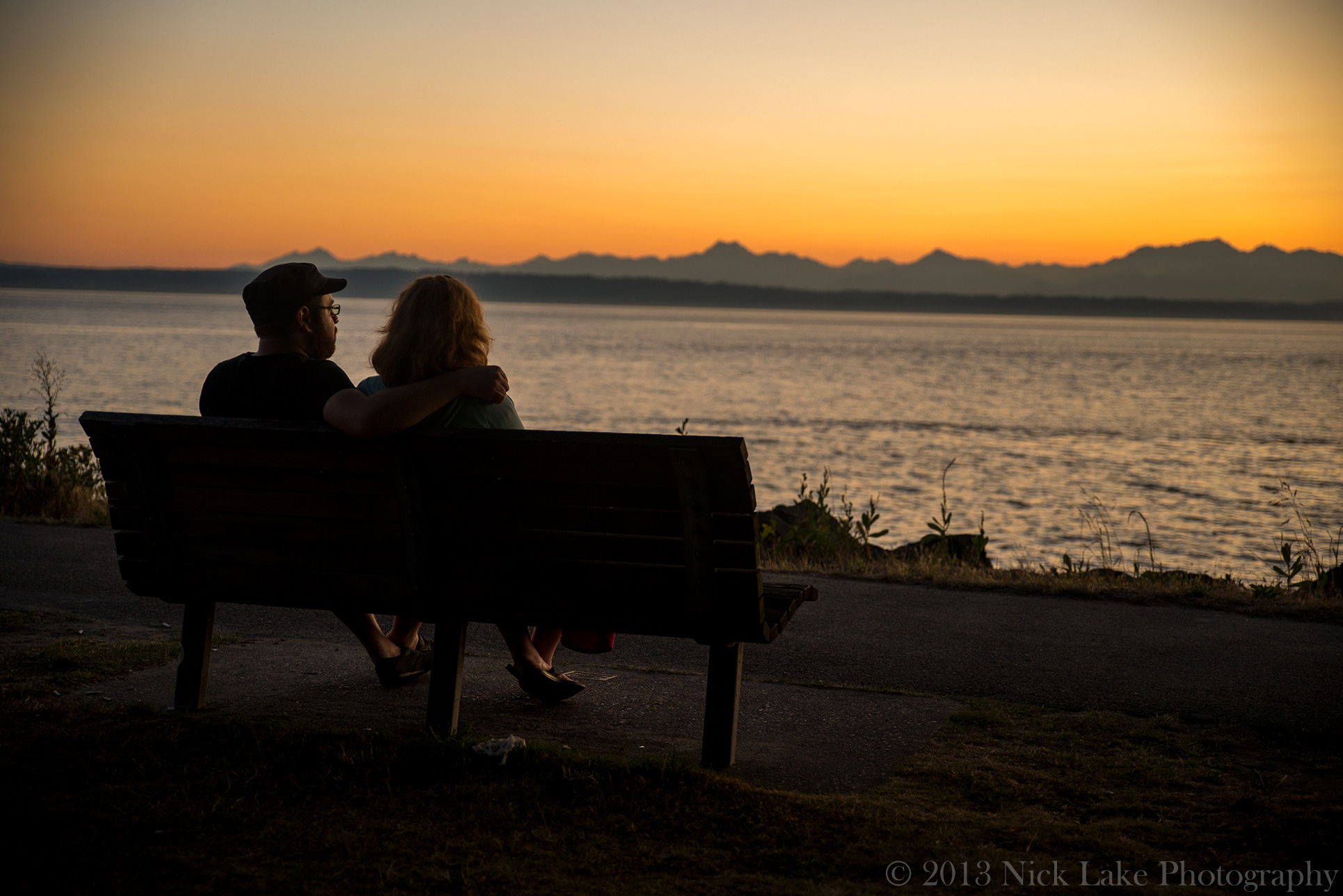 Our brother and sister-in-law, Brian and Aimee, enjoy sunset from Golden Gardens