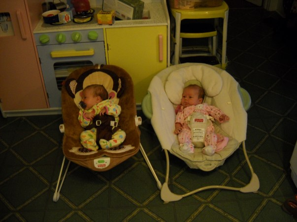 twins in bouncers