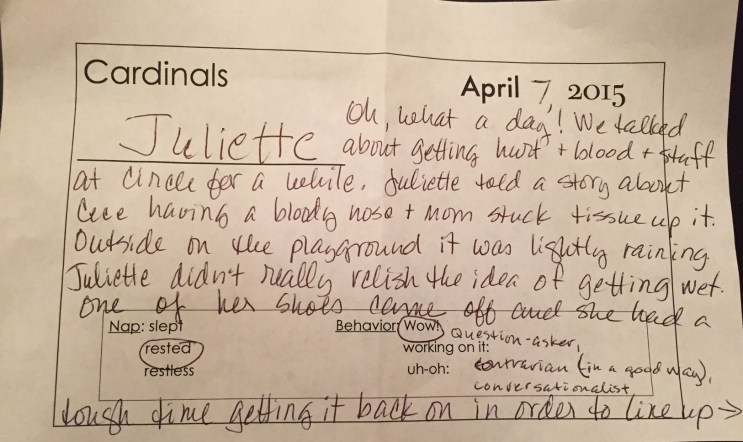Juliette's report card 1