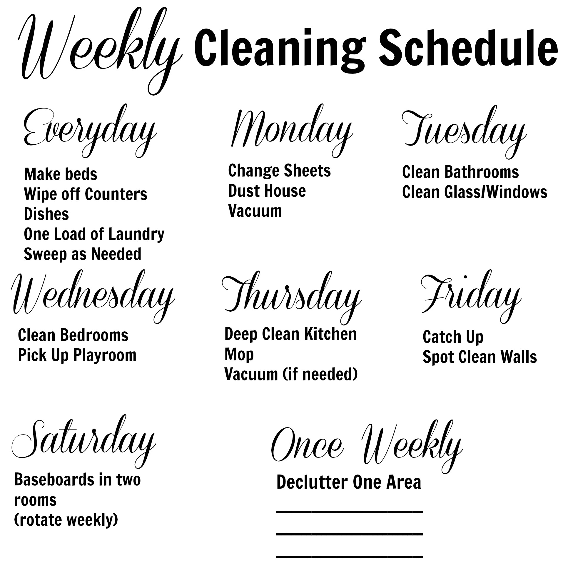 House Cleaning Services: Weekly Home Cleaning Schedule