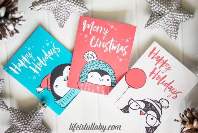 Cute Penguin Christmas Card Printables