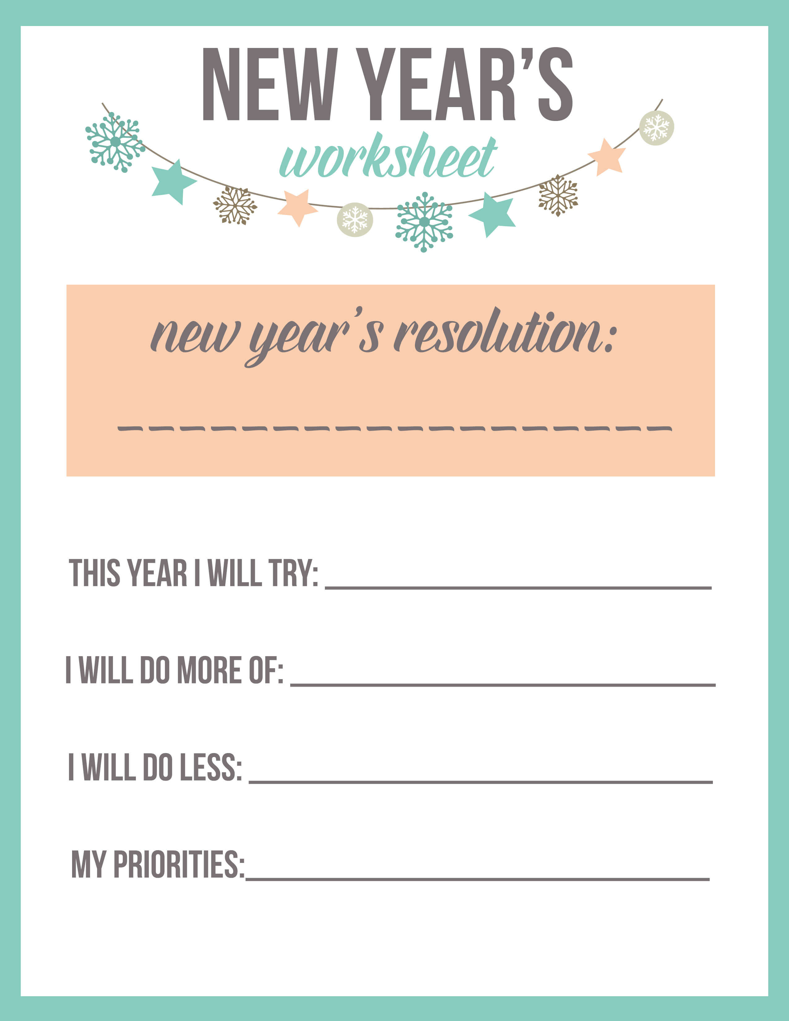 New Year S Resolution Worksheet Printable