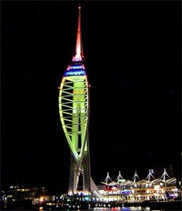 The Spinnaker Tower, at night