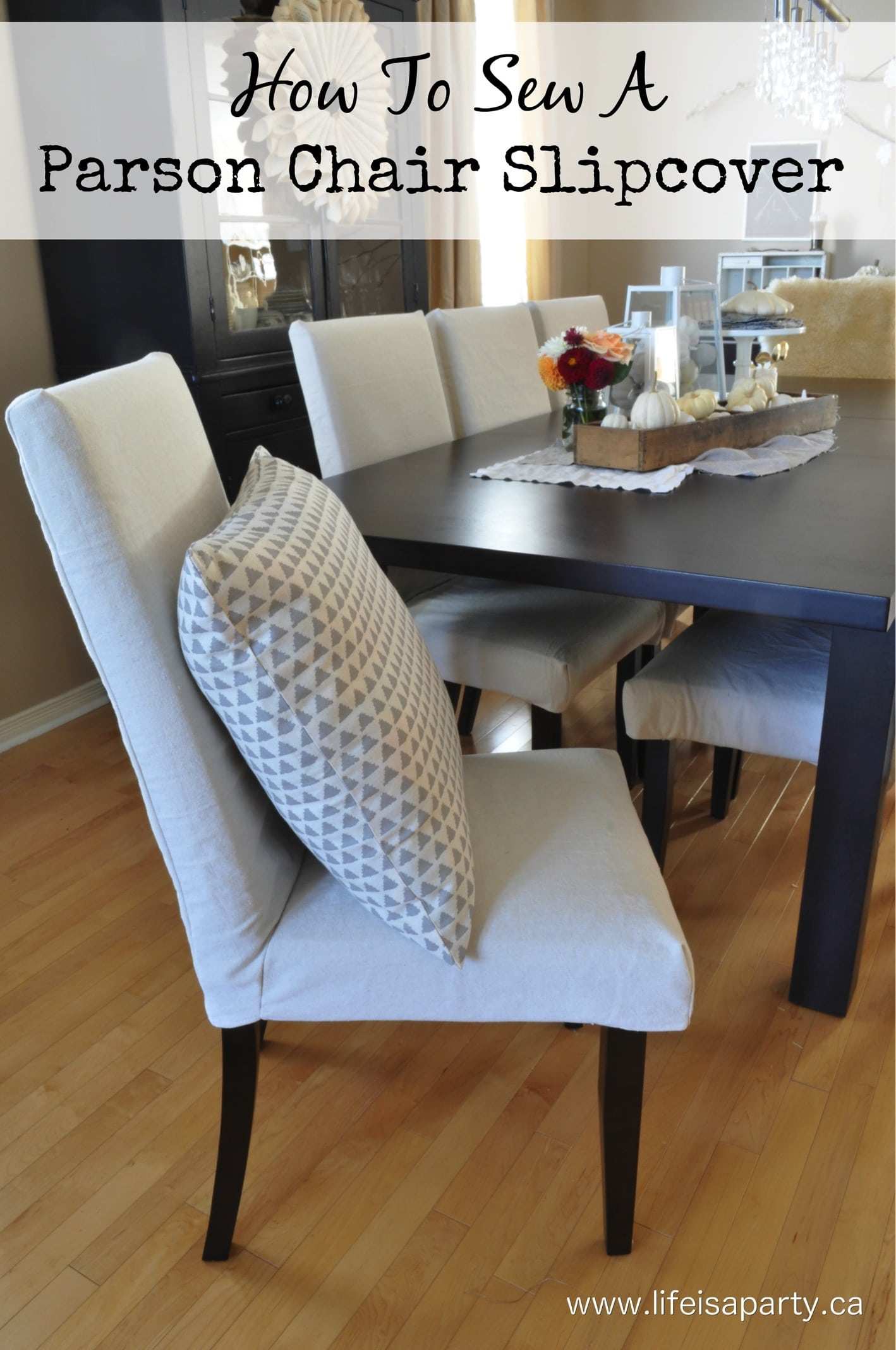 living room slipcovers organization parson chair life is a party how to sew inexpensive makeover with drop cloth you can