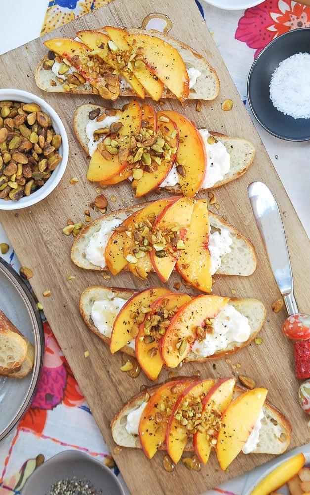 Peach Burrata Crostini