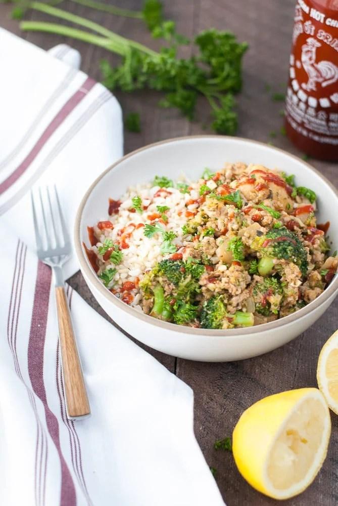 Ground Turkey & Veggie Brown Rice Bowls-4
