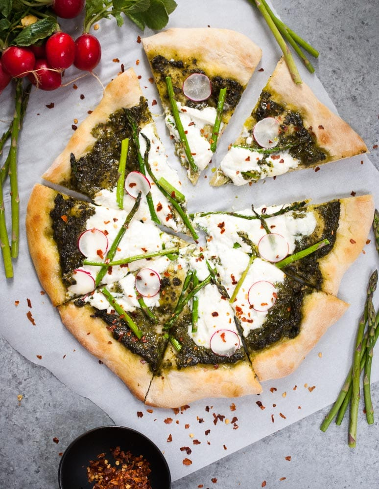 Pesto, Asparagus, & Burrata Pizza