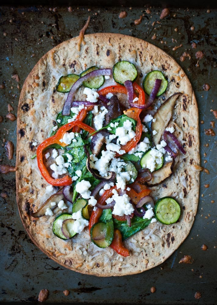 Crispy Roasted Veggie Flatbread Pizza