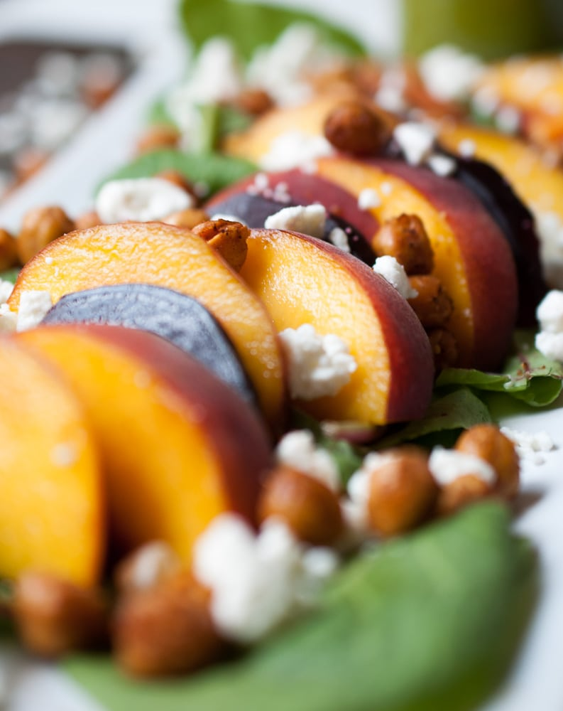 Roasted Beet, Peach, & Crispy Chickpea Salad