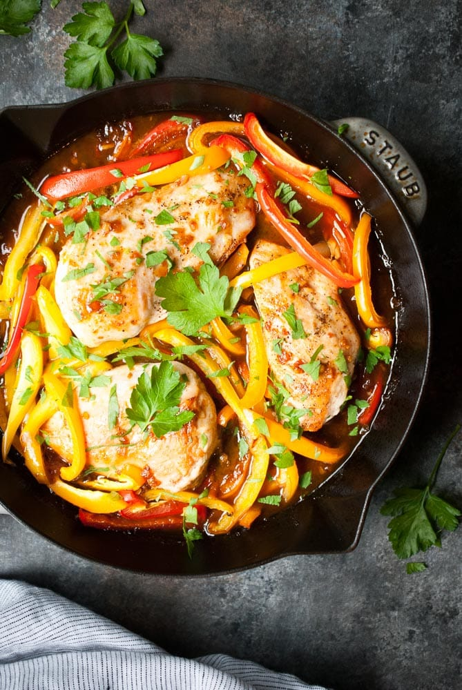 Sweet Ginger Glazed Chicken & Peppers