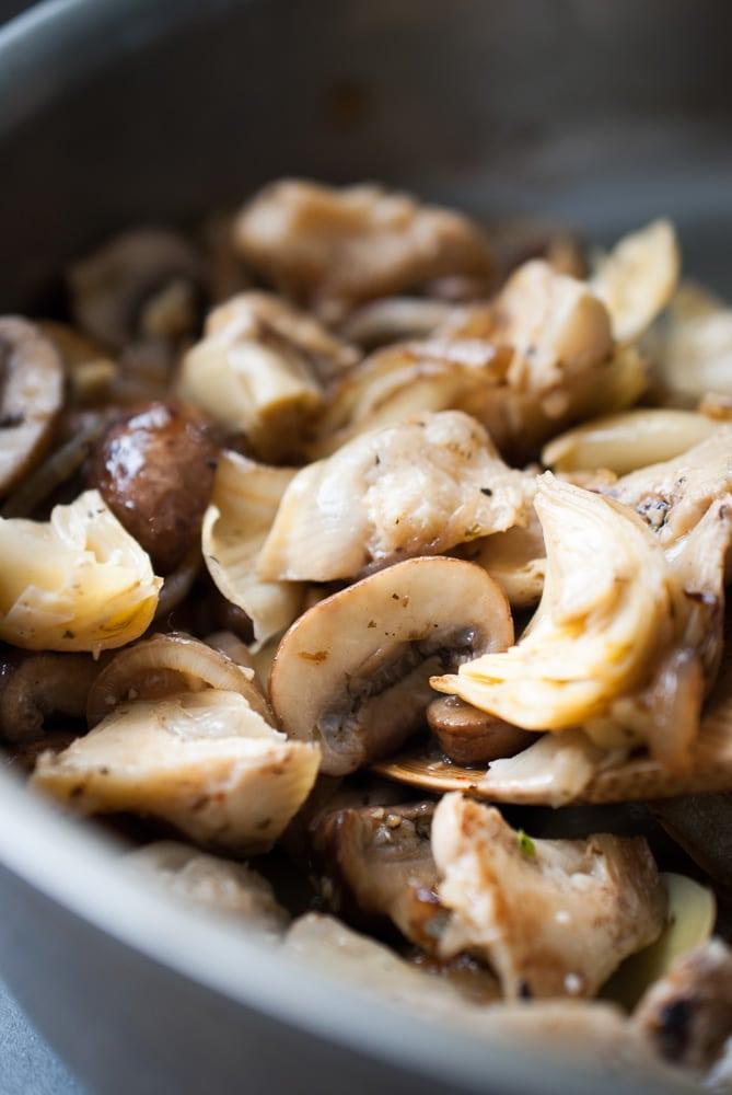 Grilled Artichoke & Mushroom Pasta