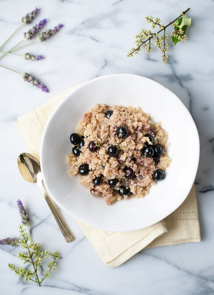Warm Coconut Cherry Blueberry Quinoa
