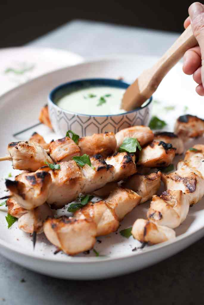 Feta Brined Chicken Kabobs